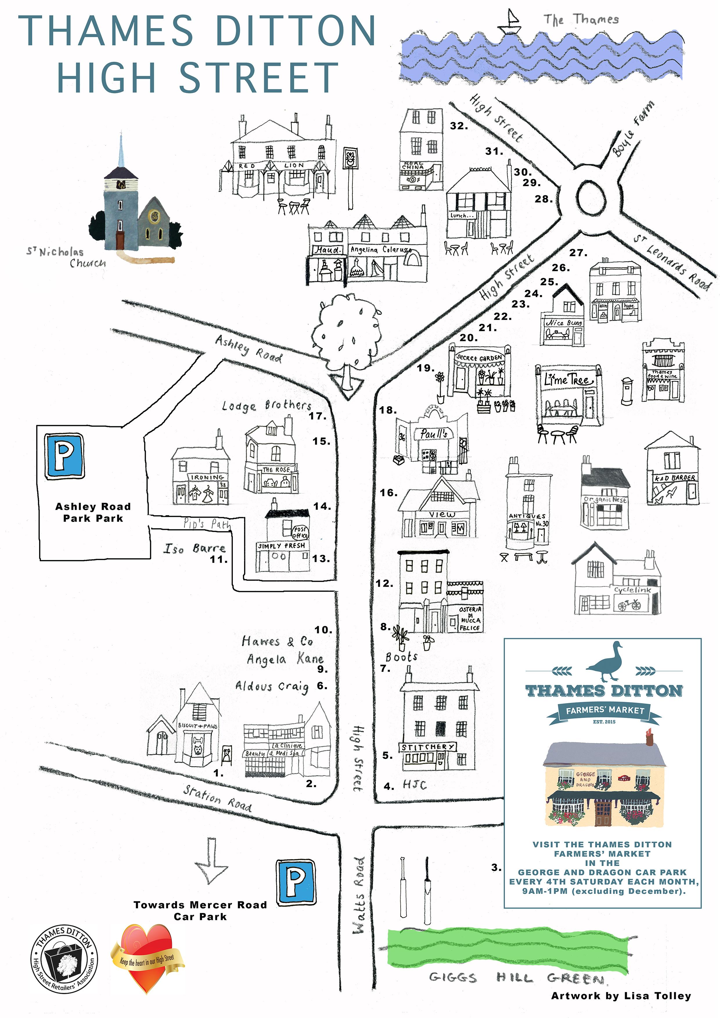 Thames Ditton High Street Map